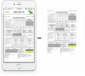An example showing at a glance how to view a child obligations worksheet via the KY Child Obligations Calculator app, along with an example of the resulting printed worksheet