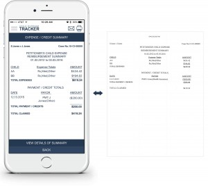 An example showing at a glance how to view an exhibit preview/summary via the Child Expense Tracker app, along with an example of the resulting printed summary