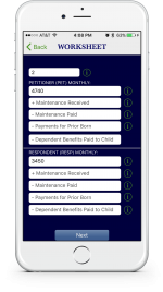 An example showing at a glance how to enter income information via the KY Child Obligations Calculator app