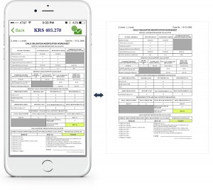 An example showing at a glance how to view a modified child obligations worksheet via the KY Child Obligations Calculator app, along with an example of the resulting printed worksheet