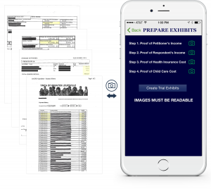 An example showing at a glance how to prepare trial exhibits via the KY Child Obligations Calculator app