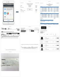 An example showing at a glance how to print or email exhibits via the Child Expense Tracker app, along with an example of the resulting printed or emailed exhibits document