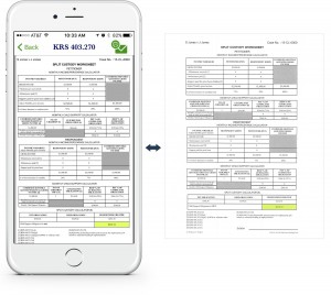 An example showing at a glance how to view a split custody worksheet via the KY Child Obligations Calculator app, along with an example of the resulting printed worksheet