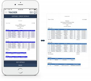 An example showing at a glance how to view expense/payment details via the Child Expense Tracker app, along with an example of the resulting printed details
