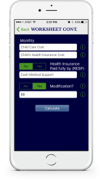An example showing at a glance how to enter current child support information if a modification to the case occurs via the KY Child Obligations Calculator app