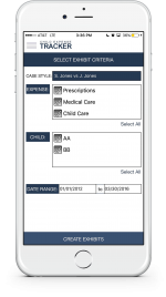 An example showing at a glance how to create an exhibit via the Child Expense Tracker app