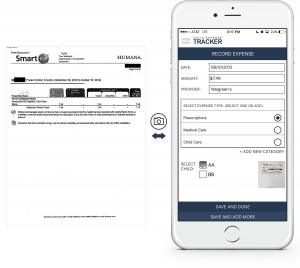 An example showing at a glance how to enter a prescription expense into the Child Expense Tracker app