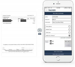 An example showing at a glance how to enter a health insurance premium into the Child Expense Tracker app
